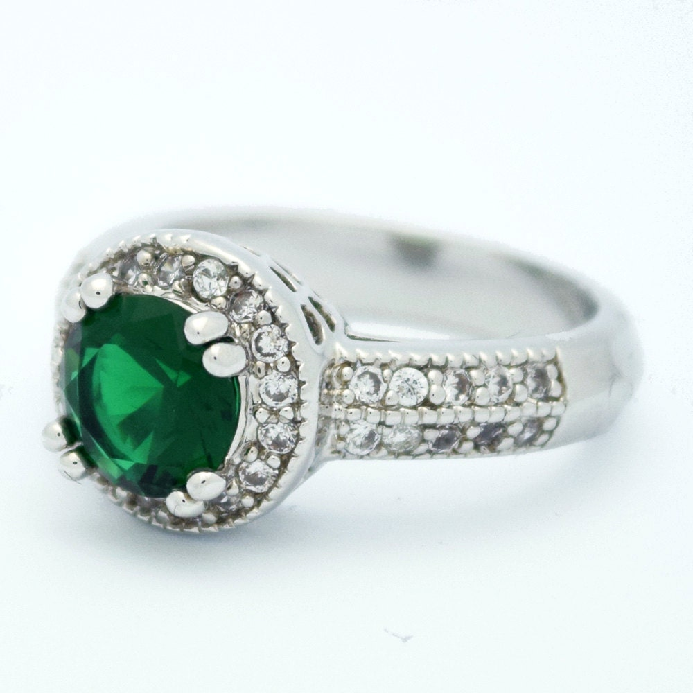 Emerald halo engagement ring green emerald by myrascollections for Emerald green wedding ring
