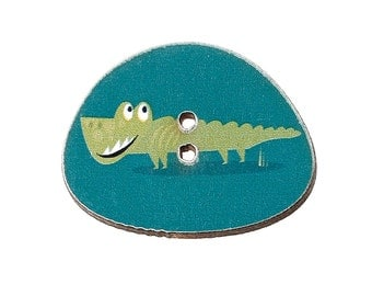Oval Green Crocodile Buttons. 25.0mm x 20.0mm. Ideal for sewing, card making,scrapbooks and other Craft Projects