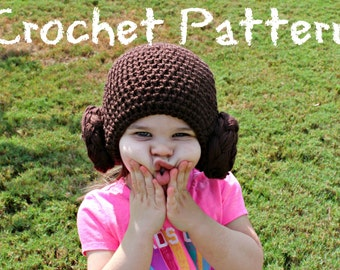 BOOKLET CROCHET PATTERN: Little Miss Buns Hat - 9 sizes  Permission to Sell finished items,  Crochet Beanie Pattern, Halloween Costume