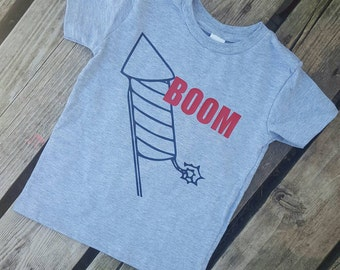 Boom!! Firework rocket onesie or tshirt!! 4th of July Independence Day!!