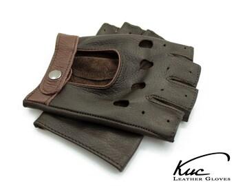 Men's fingerless gloves, car driving gloves, super soft deerskin leather, great gift for him - brown, light brown black color