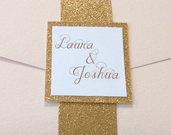 Gold Glitter Belly Bands & Name Card - Wedding Invitation Band and Card with Glitter Matting