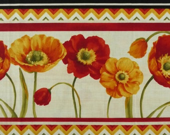 Poppy Fabric, Poppy Love by Wilmington Prints 86306, Lisa Audit, Poppy Quilt Border Fabric, Red, Rust, Gold, Yellow Floral Fabric, Cotton