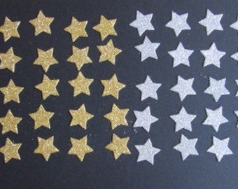 50 x 2cm Gold and Silver Glitter Star die cuts, 25 of each