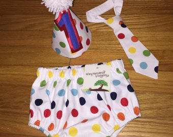 CUSTOM Diaper Cover & Tie (Bow or Long) Bib - Baby Boy/Girl - Infant - Toddler - Cake Smash - BIRTHDAY - Holiday - PERSONALIZE - Rainbow Dot