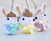 Needle felted Bunny Ornament Set of 3, Easter bunny ornament, Easter bunny decoration, Easter home decor, Bunny figurine, Needle felted