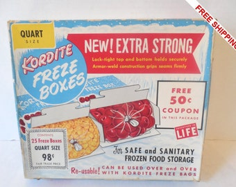 RARE Vintage Mid Century Unopened Quart Size Kordite Freeze Boxes  25 Count -VERY KITSCHY