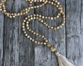 Long Tassel Necklace with Mother of Pearl Round Beads