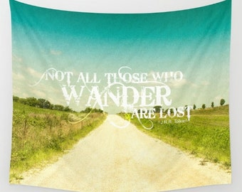 Not All Who Wander Are Lost Quote Tapestry Wall Hanging College Dorm Room Decor Apartment Decor Glamping