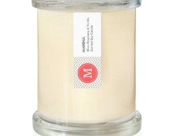 Highly scented Soy Candle By Mahina. You choose scent