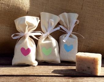 Rustic Handmade Soap + Heart Stamped Calico Bag, BABY Shower Soap Favors, Bridal Shower Favors, Wedding Soap Gift favors
