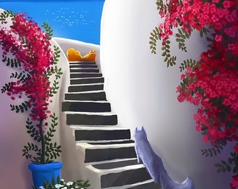 Santorini Cats,  Limited Edition A4 illustration print