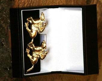 Horse Racing Gold Plated Pewter Cufflinks UK Handmade Gift