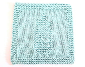 Knitted Washcloth Baby Bottle Robin's Egg Blue Cotton