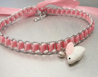 Discreet Ribbon Maille Submissive Bunny Day Collar, Pet Play, Baby Girl, Daddy's Girl, DDlg, BDSM Collar