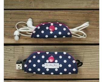 Ear buds & charger holders - Navy/dots