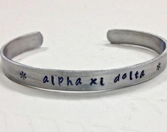 Alpha Xi Delta, AXD Jewelry, Greek Sorority Handstamped Cuff Bracelet in non-tarnish aluminum
