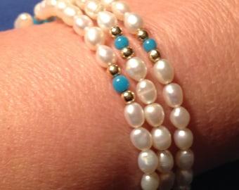 Freshwater Pearl Memory Bracelet, Coil Wrap Bracelet, Freshwater Pearl Bracelet,