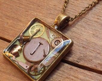 Steampunk OOAK Initial 'J' Pendant - Unique Artisan Necklace - Vintage Watch Parts - Steampunk Jewelry