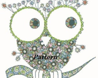 Owl. Abstract. Zentangle. Cross Stitch Pattern. PDF Files.