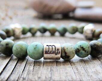 Scorpio birthstone Zodiac bracelet Zodiac jewellery Astrology bracelet Stretch bracelet Beaded bracelet African turquoise bracelet for women