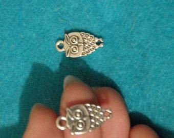 10 owl charms pendants tibet tibetan silver  antique jewellery making wholesale UK -02