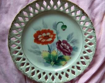 "Orange and purple poppy plate, Wheelock Trade, 8.25"""