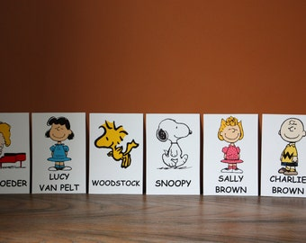 Peanuts Table Character Cards **Charlie Brown, Snoopy, Sally, Woodstock, Lucy, Schroeder, Marcie, Peppermint Patty and Pig-Pen**