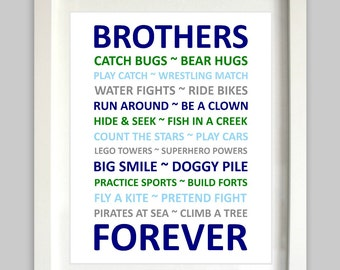 Brothers Wall Art // Brothers Art // Siblings // Twins Boys Printable // Nursery Decor // Boys Wall Art // Boys Playroom // Brothers Forever