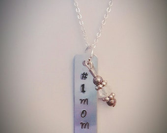 Hand Stamped #1 Mom Necklace