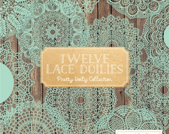 Premium Large Vintage Lace Doilies Clipart - Mint Lace Doilies, Mint Doily Clip Art, Doily Vector, Lace Vintage Doily, Vintage Doilies