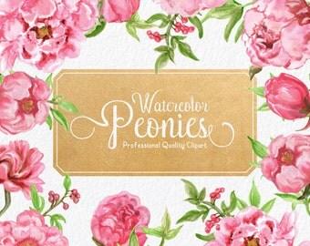 Watercolor Peonies Clipart - Watercolour Peonies, Watercolor Peony, Pink Peonies, Pink Peony, Watercolor Flowers, Watercolor Clipart