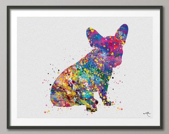 French Bulldog Watercolor Dog Print Frenchie art print Bouledogue Francais Art Gift Pet Dog Love Friend Animal Dog Poster Dog Art [NO 634]