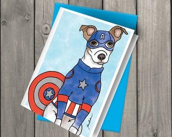 Captain America Jack Russel Blank Note Card