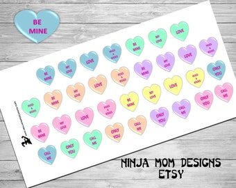 Candy Heart Stickers- Perfect for Planners