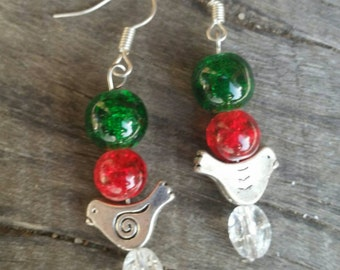 Partridge in a Pear tree earrings in silver