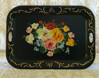 Vintage Tole Tray, Large Black Floral Tole Tray