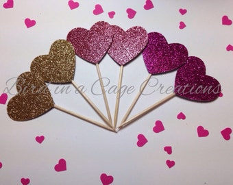 Heart Cupcake Toppers (Glitter decorations, Glitter hearts, Gold Heart, Valentine's Day)