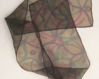 Hand painted organza scarf.  Multicolored pattern painted on very dark olive green small organza neck scarf.  Painted silk scarf, organza.