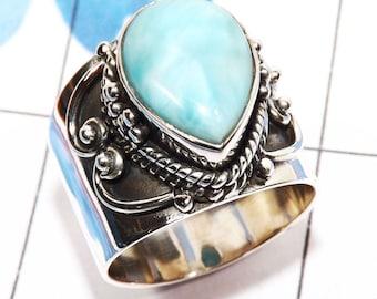 Larimar Ring, Larimar Stone Ring, Larimar Jewellery, Handmade Ring, Designer Ring, 925 Sterling Silver, Pear Shape Ring, Engagement Ring