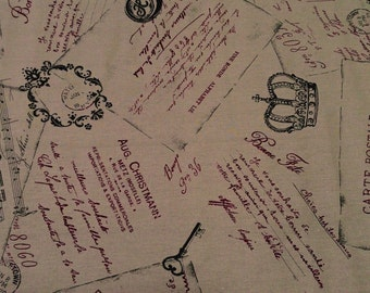 Yuwa Live Life Collection Carte Postale, Japanese cotton linen canvas, half yard