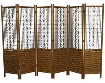 Mid-century 6 Panel Folding Geometric Screen