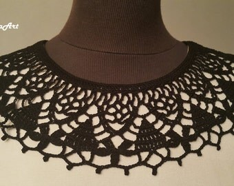Handmade Crochet Collar, Neck Accessory, Black, 100% Cotton