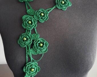 Crochet Rose Necklace,Crochet Neck Accessory, Flower Necklace,Dark Green Color, 100% Cotton.