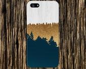 Geometric Gold Glitter Navy Blue Wood Phone Case, iPhone 7, iPhone 7 Plus, Tough iPhone Case, Galaxy S7, Samsung Galaxy Case, CASE ESCAPE