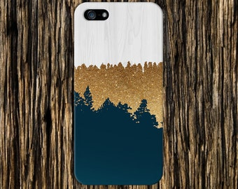 Geometric Gold Glitter Navy Blue Wood Phone Case, iPhone 7, iPhone 7 Plus, Tough iPhone Case, Galaxy s8, Samsung Galaxy Case, CASE ESCAPE