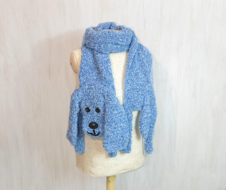 Knit Dog Scarf Pattern : Blue dog handmade soft scarf knit knitted crochet wrap long