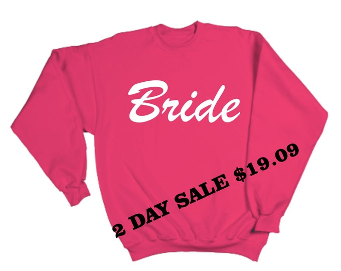 Bride Sweatshirt. Slouchy Oversized Bride Shirt- Bridal Shower Gift. hot Pink with white Writing Bride Sweatshirt - can be off shoulder