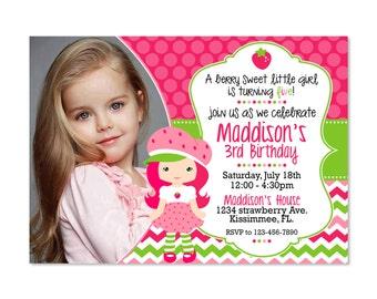 Strawberry Shortcake Birthday Invitation