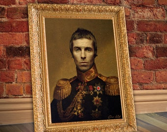 Liam Gallagher Our Kid Oasis Pretty Green Manchester  Renaissance Portrait  PRINT A3 INDIE MOD Limited Edition